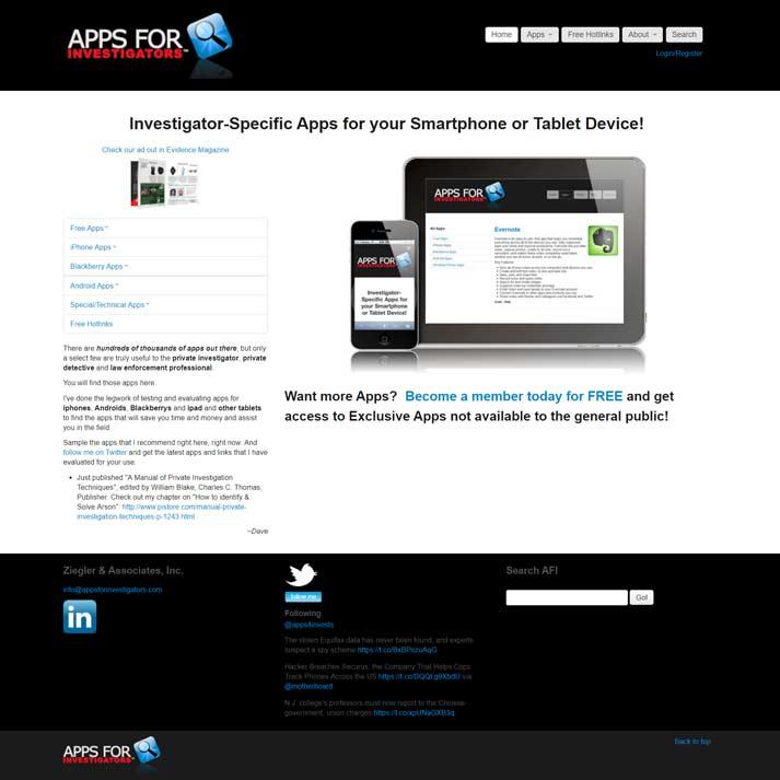 Apps for Investigators Website