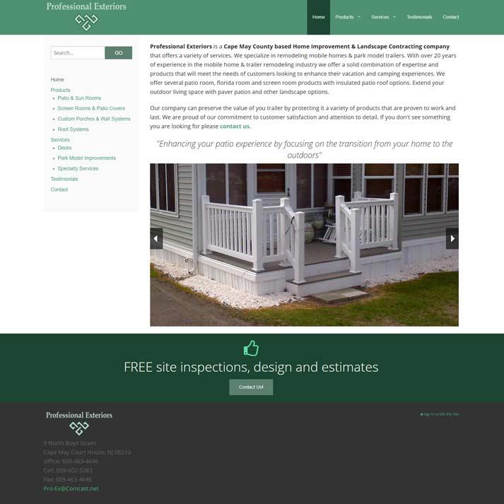 Professional Exteriors Website